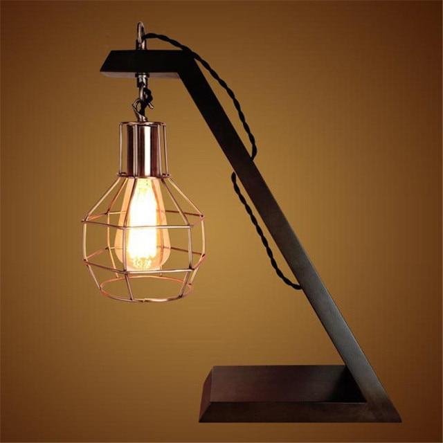 Retro Wood Table Lamp E27 Edison Industrial Style Night