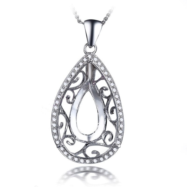 Aliexpress buy helon 14x22mm pear cut sale solid 10k white helon 14x22mm pear cut sale solid 10k white gold natural diamonds pendant for women jewelry engagement aloadofball Images