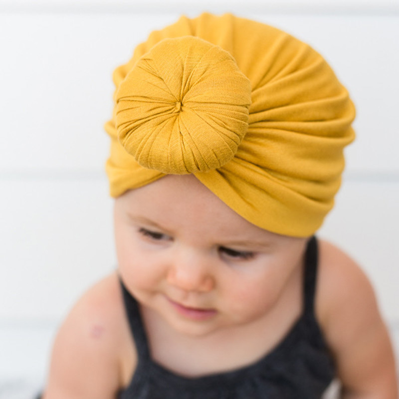 Infant Newborn Kids Baby Hats Turbans Caps Lovely Children   Headwear   Wrinkle solid Caps Toddler cap Accessories with flower