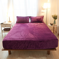 3Pcs Lavender Solid Color Polyester Flannel Fabric Solid Fitted Sheet Mattress Cover Four Corners With Elastic Band Bed Sheet