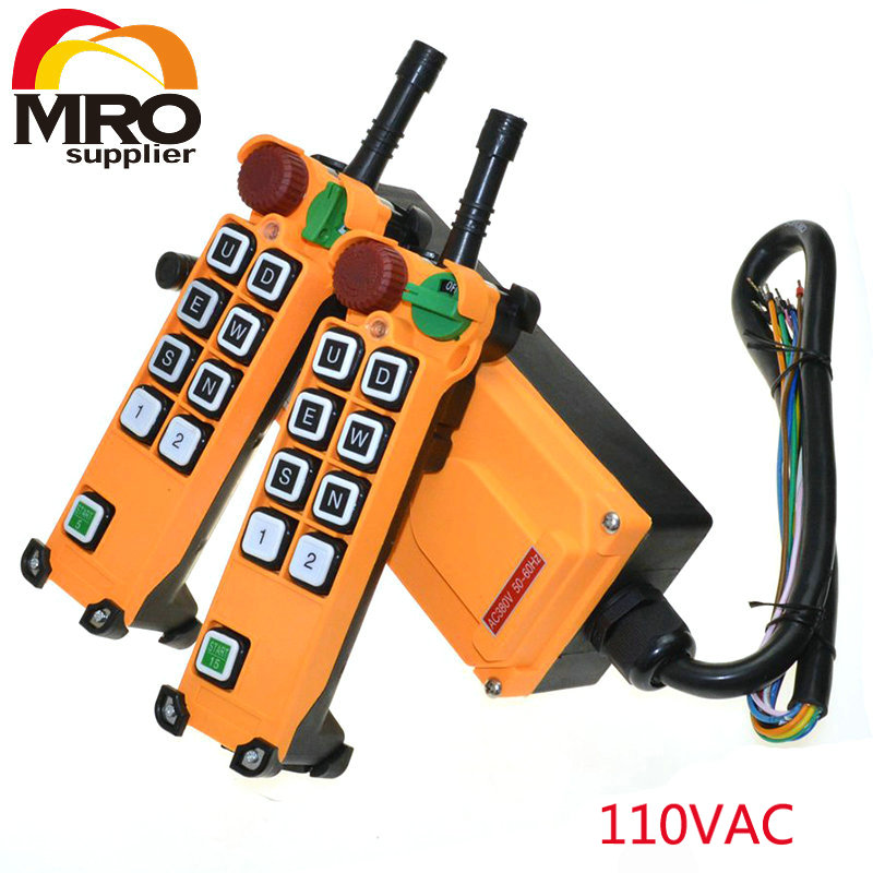 цена на OBOHOS 8 channels 1 Speed 2 transmitters Hoist Crane Truck Radio Remote Control System with E-Stop XH00070