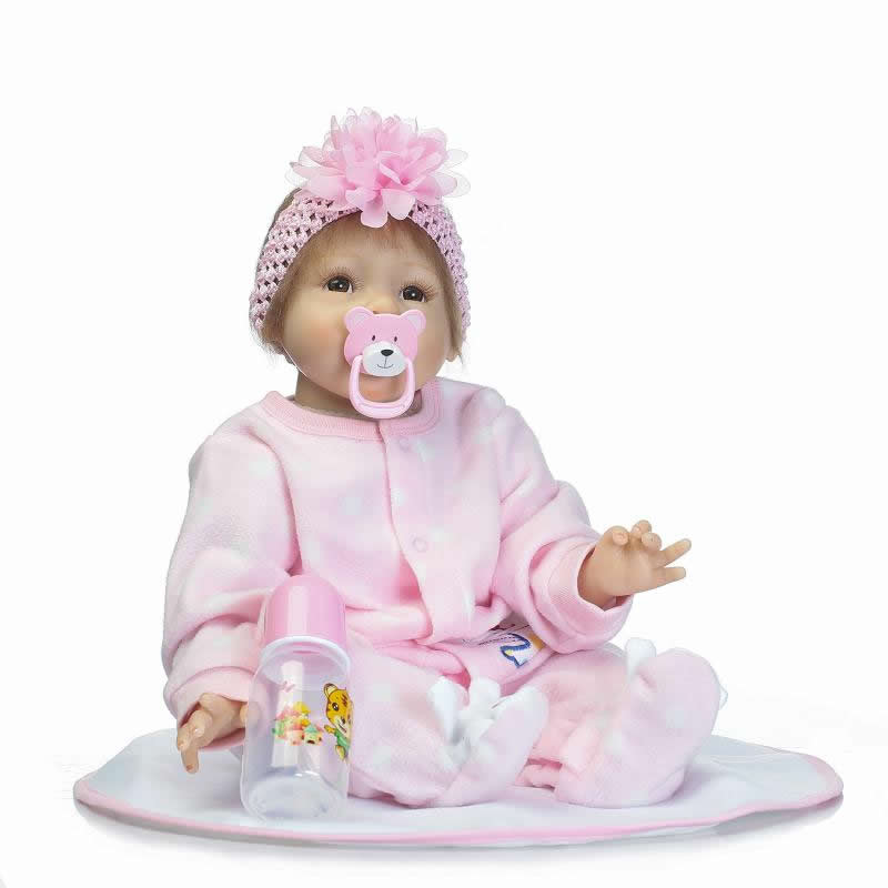 22'' Real Looking Baby Dolls Soft Silicone Girl 55 cm Realistic Reborn Dolls For Sale With Magnetic Pacifier Kids Birthday Gifts hiv and aids