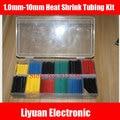 Alta qualidade 10 Tamanhos Heat Shrink Tubing Kit CINCO Cores 1.0mm-10mm 280 PCS na caixa