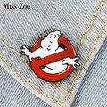 Эмалированная брошка Ghostbuster  белая брошка-значок с привидением  сумка для одежды  нагрудная заколка с мультипликационным принтом  подарок д...
