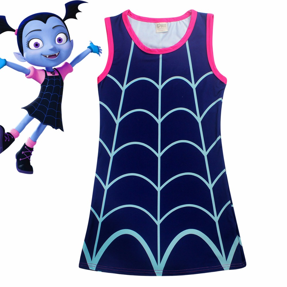 Moana Dress Summer Sleeveless Girl Dresses Baby Cartoon Vampirina Vestido Clothes Princess Party Dress Children Clothing DS9 summer baby girl s dress cloth cherry blossom korean version sleeveless vest dress princess bow tie vestido