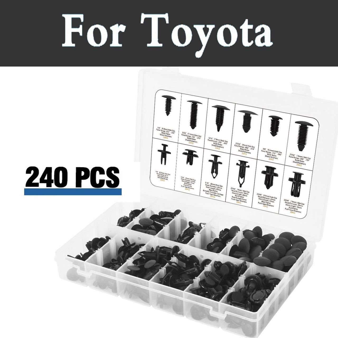 240pcs Push Car Retainer Clips Plastic Storage Case Rivets For Toyota Vios Vitz Will Cypha Windom Yaris Highlander