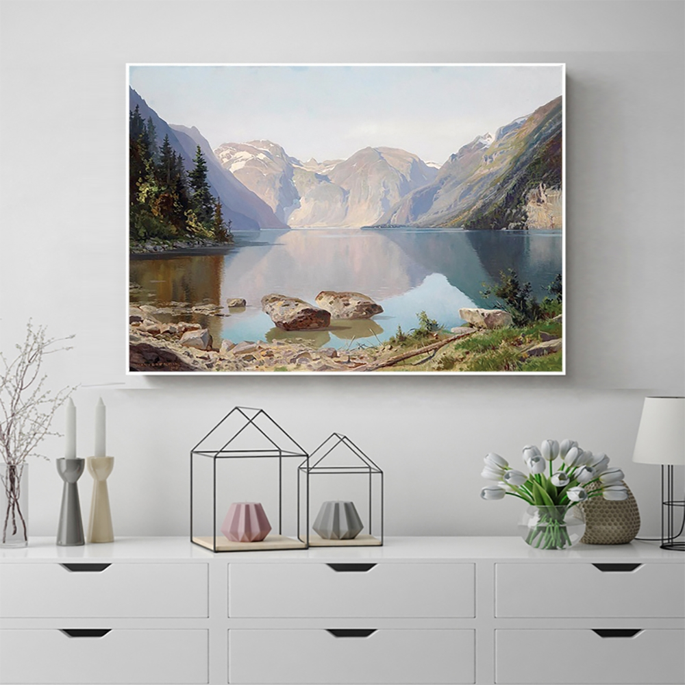 Laeacco Canvas Painting Calligraphy Chinese Mountain Wall Artwork Posters and Prints Kitchen Living Room Home Decoration
