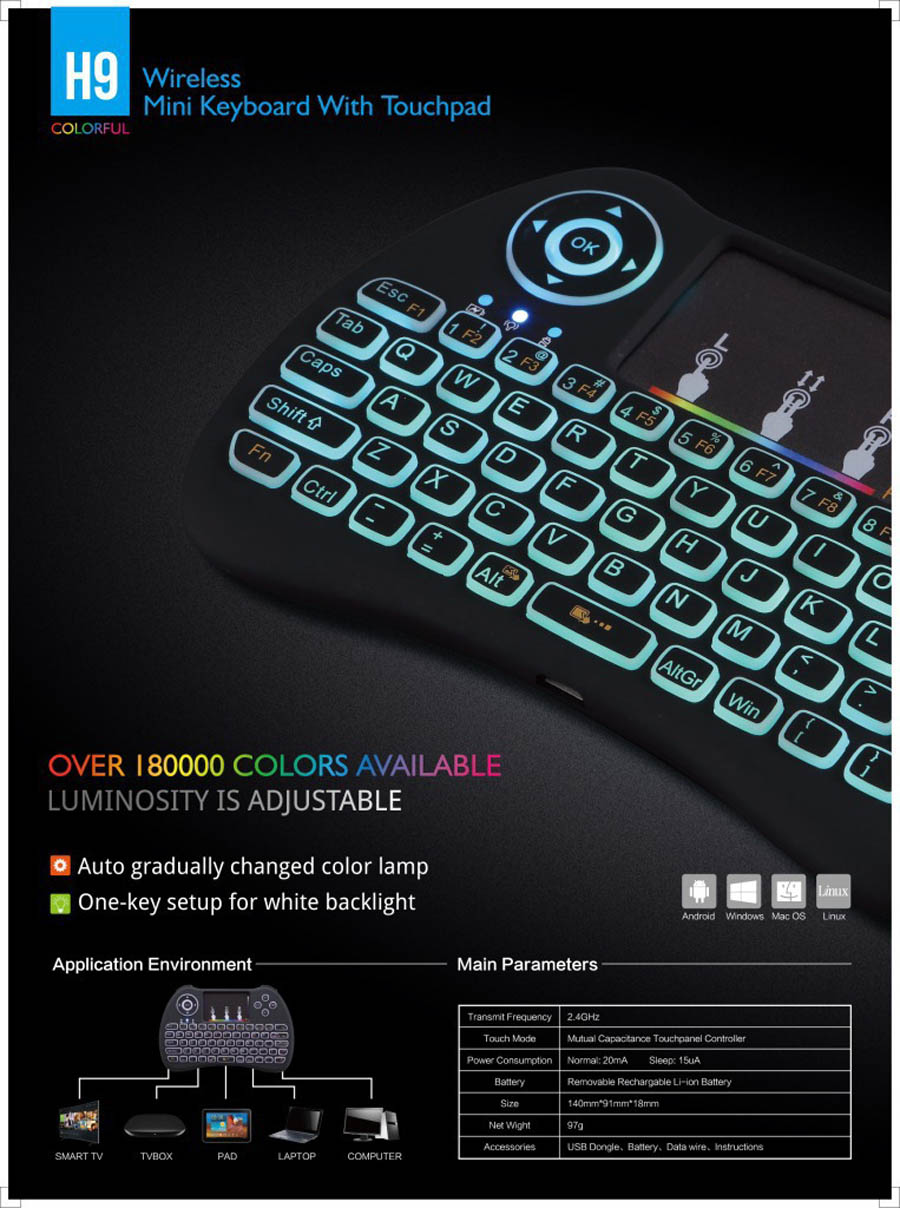 H9 wireless mini keyboard with RGB color backlight (13)