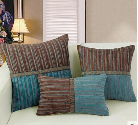 Large Square Sofa Cushions Friends Replica Blue Coffee Simple Style Striped Pattern Cushion Cover Backrest Pillowcase Size Pillow Home Decoration