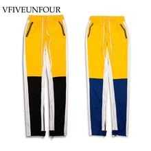 VFIVEUNFOUR Side Color Block Patchwork Harem Pants 2019 Vintage Hip Hop Regular Casual Joggers Button design Pants sweatpants все цены