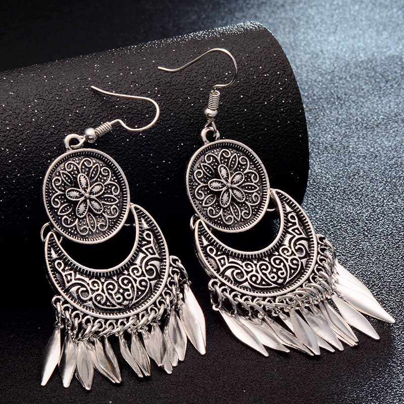 SHUANGR 2017 Dream Catcher Hollow out Vintage Leaf Feather Dangle Earrings For Women Bohemia Style Earring Indian Jewelry