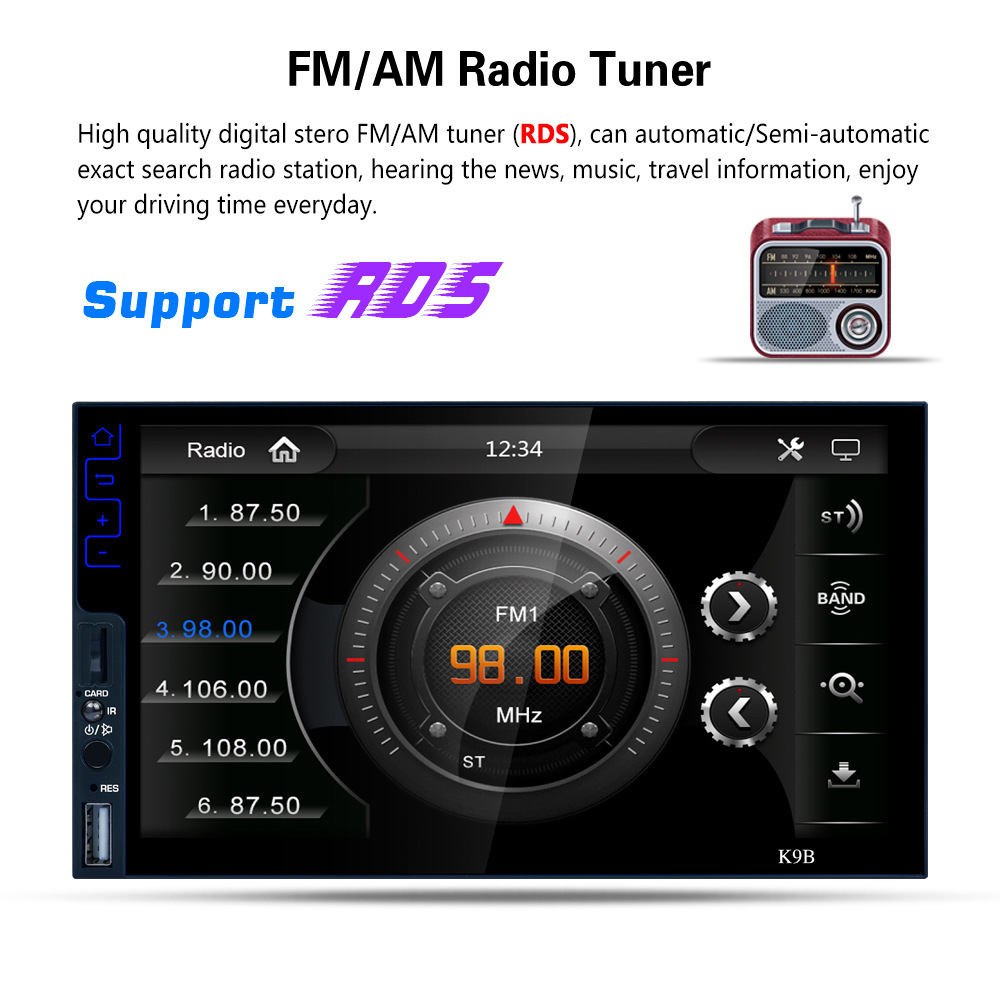 GPS Navi WiFi RDS FM AM Radio U Disk BT4.2 Without Camera Car MP5 Player A1 1Din Quad core Android 7 Car Stereo MP5 Player