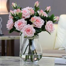2 głowice bukiet luksusowe eleganckie sztuczne kwiaty prawdziwy dotyk żywe róże sztuczne jedwabne kwiaty ślub panny młodej dekoracji domu A1155 tanie tanio Jedwabiu Ślub XIDA Róża Kwiat Oddział White Green Blue Pink Purple 45 cm 17 71 in 8cm 3 15cm 5 cm 1 97 in 2 heads bouquet