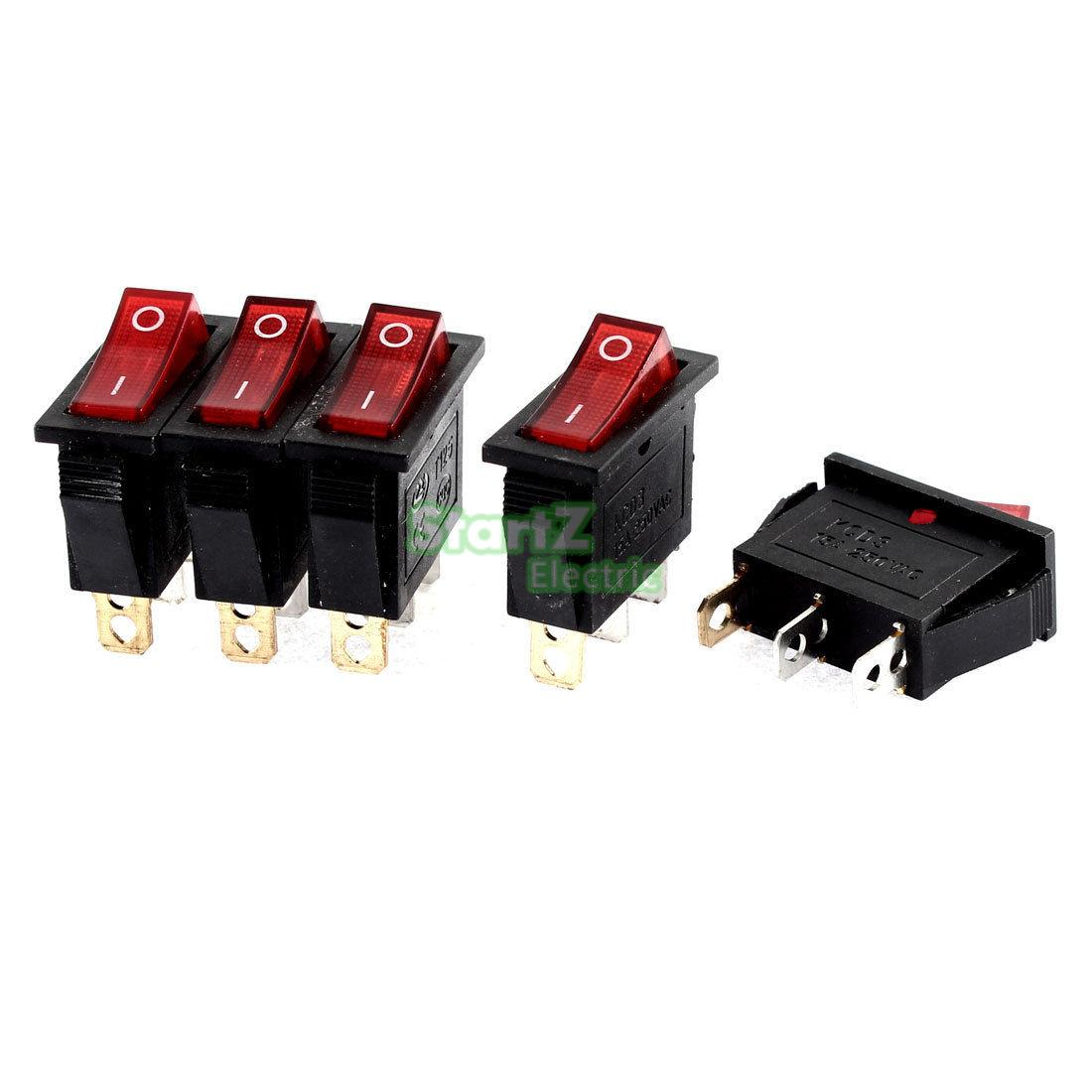 5pcs Spst Switch 3 Pins Celbridge Cabs Rv Marine Boat Led Rocker Panel Circuit Breaker Alex Nld Red Light On Off Snap In Pin 15a