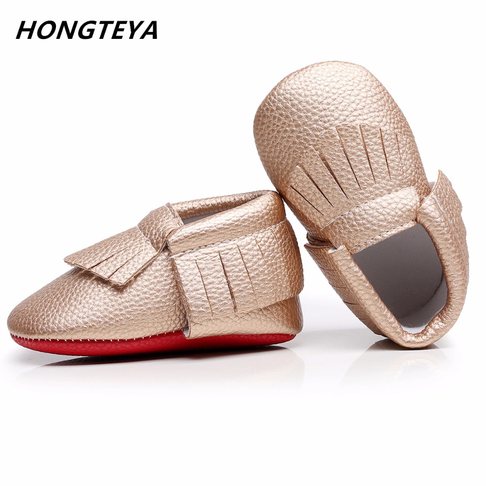 Hongteya Red Bottom Baby Moccasin Soft Sole Newborn Baby Shoes Fringe Tassel PU Leather Gold Prewalkers Boots 0-2 Y