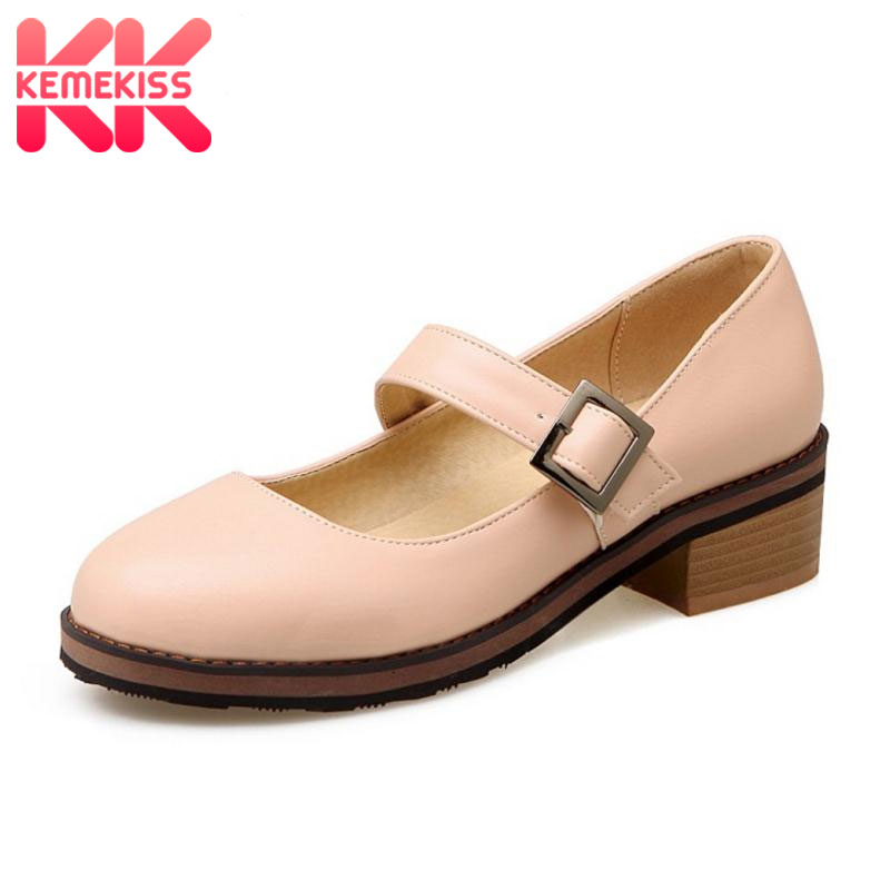 KemeKiss Size 33-44 Women's Flat Shoes Women Ankle-Strap Flats Casual Pointed Toe Square Heel Flats Lady Sweet Candy Color Shoes