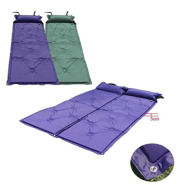 bea4a7e91 Colchão inflável Dobrável Dormir Esteira de Acampamento Caminhadas Viagem  Automático Único Travesseiro Cama de Ar Esponja