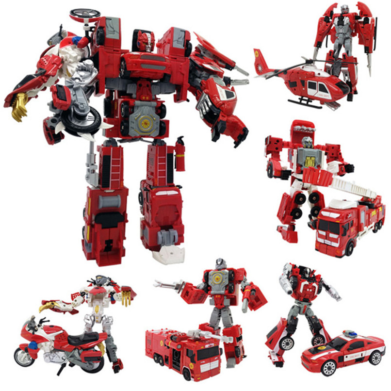 Abbyfrank 2 In 1 Alloy Deformation Robot Car Model Toy Educational Action Figure Toys For Boys Fire Truck Robots Birthday Gifts robots in disguise 1 step changers