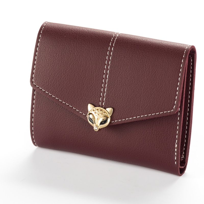 Herald Fashion Lady Short Wallet Solid Vintage Fox Women Wallet new brand Small Female card Purse coin bag fashion colorful lady lovely coin purse solid golden umbrella clutch wallet large capacity zipper women small bag cute card hold