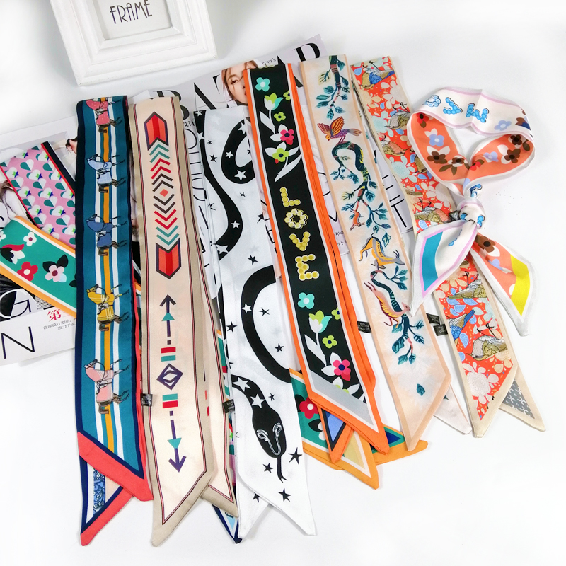 2019 beautiful Print Luxury Bag Strap Scarf Women Silk Scarf Fashion Head Scarf Headwear Long Scarves Bag Accessories Ribbon