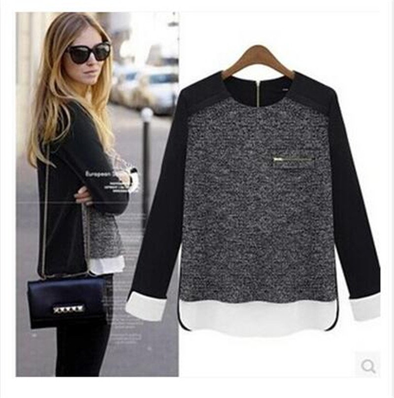 Casual knit sweater coat Women 2015 new European fashion Pullover O neck Loose Long Sleeve chiffon stitching sweaters Christmas
