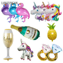 Hawai Flamingo Unicorn Party Globos de papel de aluminio Big Ballon para Babyshower Decoraciones de cumpleaños feliz Kids Adult Event Party Supplies