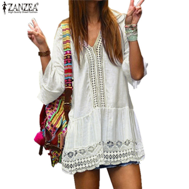 1ee51c945c ZANZEA 2019 Summer Dress Women Sexy V-neck Bell Sleeve Hollow Lace White  Casual Loose