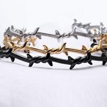 Men Bangle Open Cuff Twist Thorns Wire Pulsera Titanium Stee