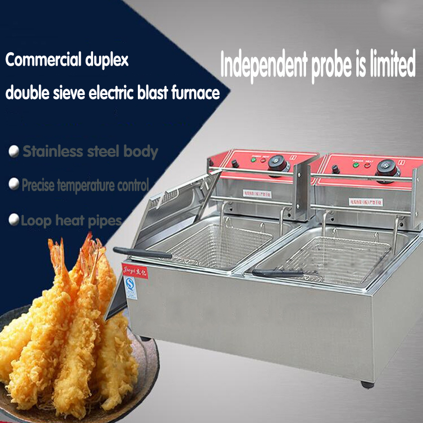 1PC Commercial duplex double sieve electric frying stove with limit probe is Fried chicken leg chips, etc evolis avansia duplex expert smart