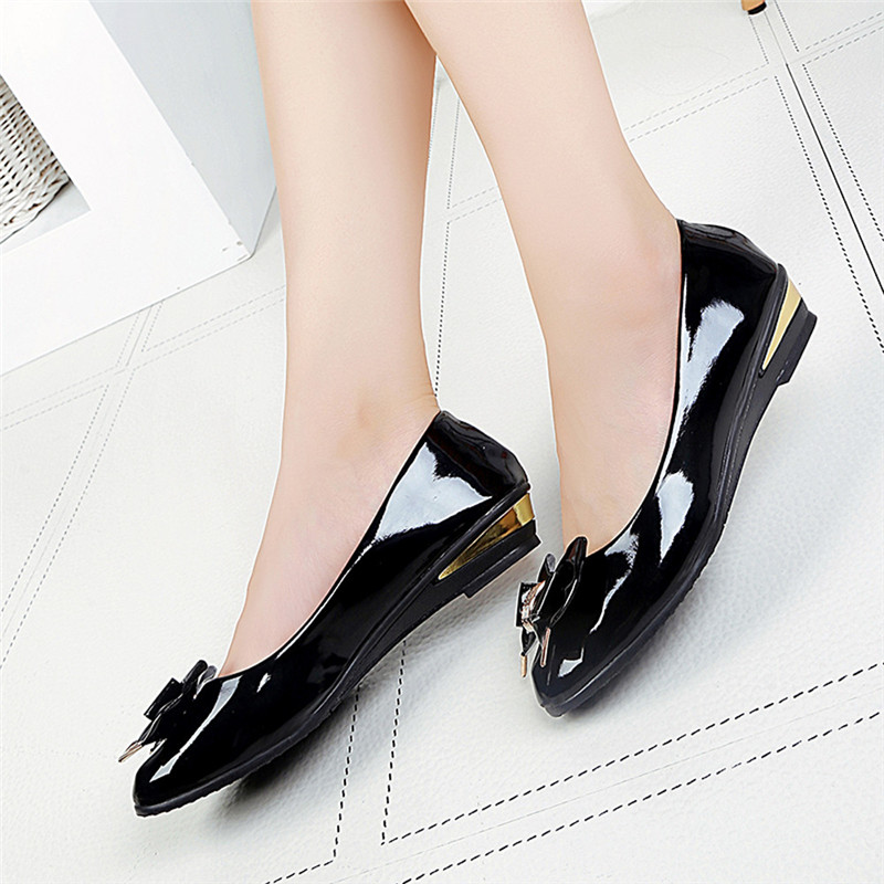Spring Autumn Fashion Women Casual Toe Designer Flat Heel Bow Tie Shoes Women's PU leather street Flat Shoes Zapatos Mujer #40 2016 spring and summer pointed toe flat heel sweet bow shoes single shoes women fashion women s flat shoes