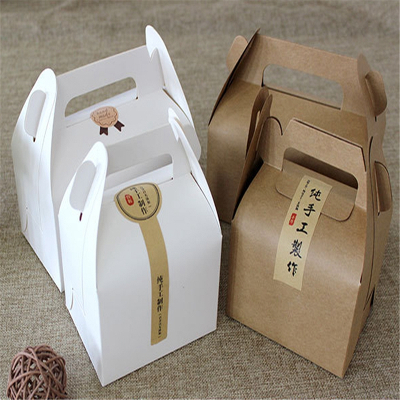 Gift Bags & Wrapping Supplies 10 Pcs/set 2 Sizes 16x9x8cm Kraft Paper Baking Food Storage Box Christmas Party Gift Package Case Supply Cookies Snack Candy Box To Adopt Advanced Technology