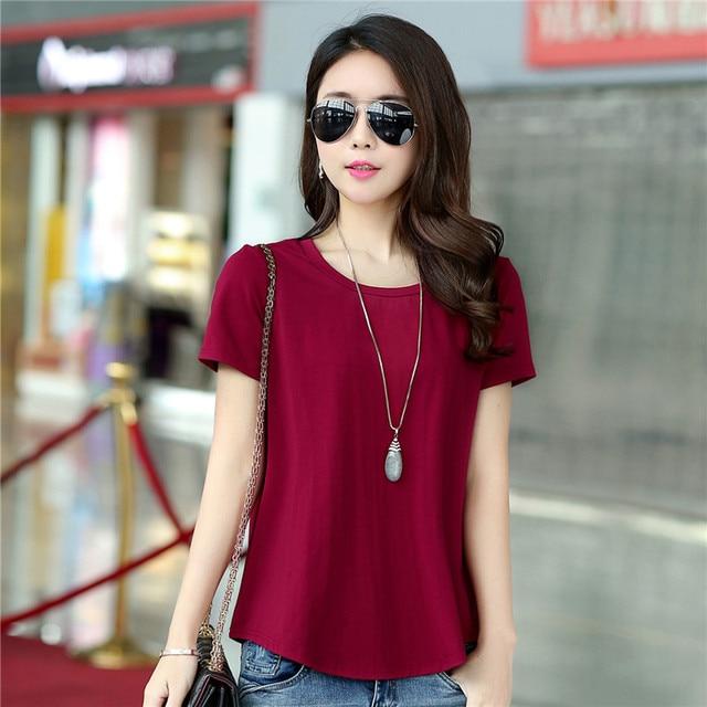 2ec302cedbf6 Latest Summer Fashion Women Tops Round collar Short sleeve Cotton Pure  color T-shirt Leisure Loose Big yards T-shirt Women G2470