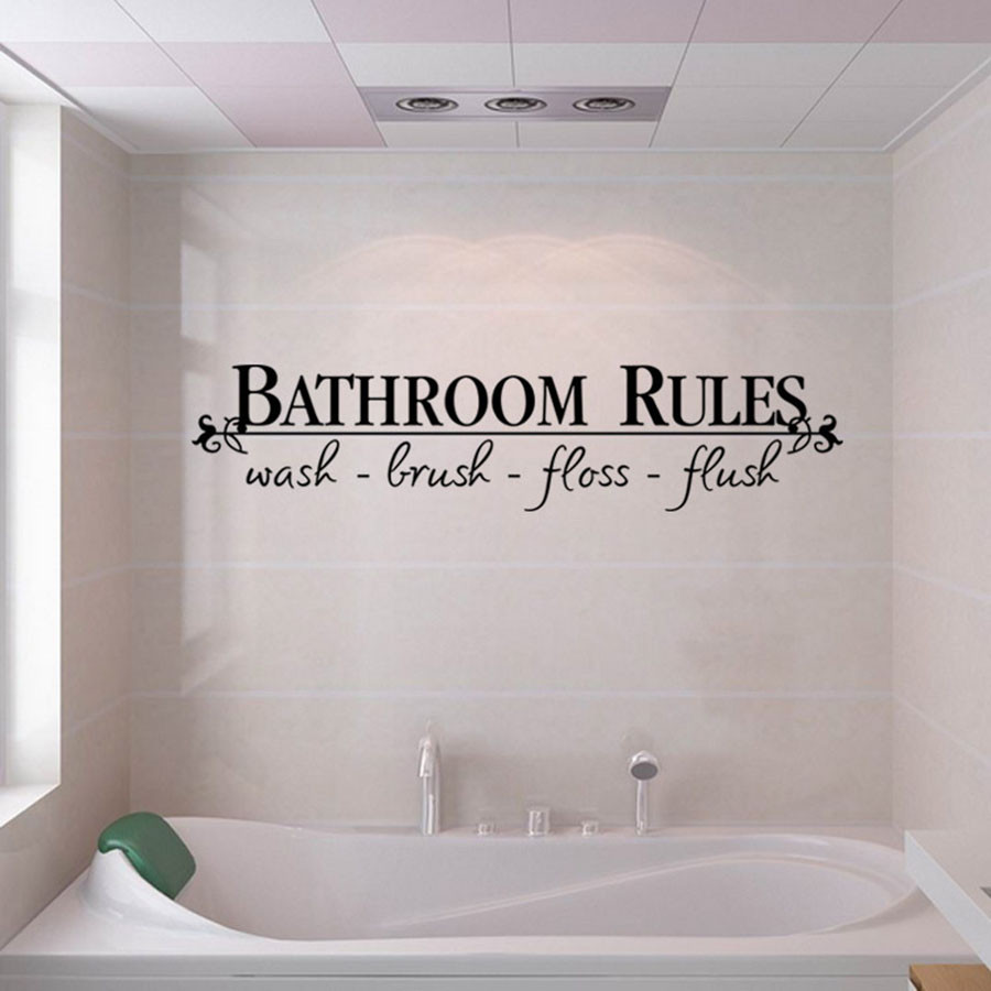 Wall Sticker Characters Bathroom PVC Stickers For Shower Rooms Removable Art Vinyl Mural  Self-adhesive Home Room Decor F417