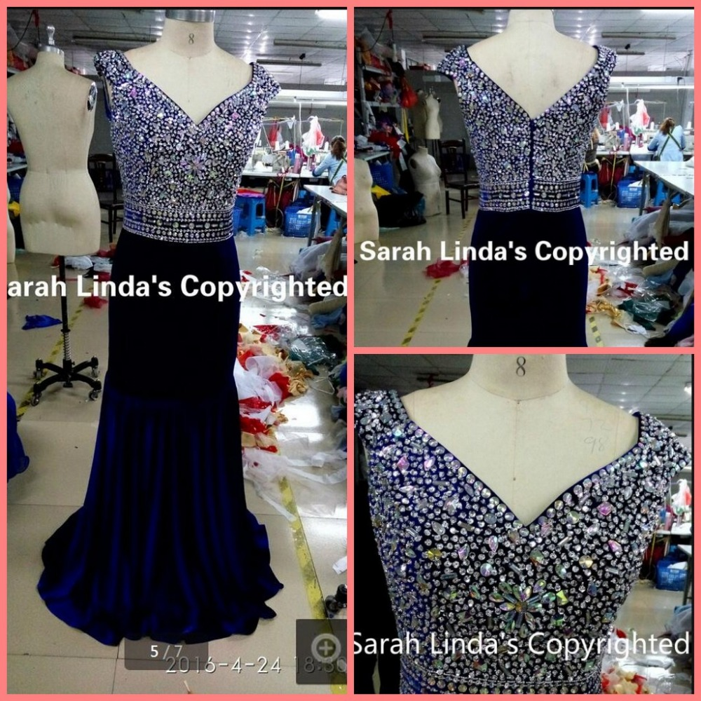 2016 Attractive Stylish Royal Blue Beading Crystals Evening Dress V Neck Cap Sleeve Formal Evening Gowns Best Selling