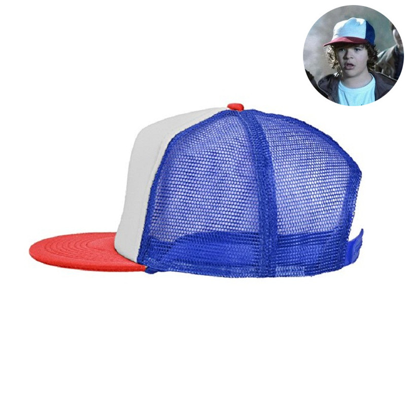6adb71ecf935c Dustin Hat Stranger Things Cap Summer Baseball Mesh Cap Adjustable Snapback  Strap Net Trucker Hat Cap unisex Cosplay Coser