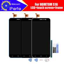 5.5 インチhomtom S16 lcdディスプレイ + タッチスクリーン + フレーム、 100% オリジナルのテストS16 スクリーンデジタイザガラスパネルの交換電話