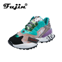 Fujin Women Sneakers Platform Shoes Woman Spring Autumn Shiny Bling Vulcanize Flats chunky sneaker Lace Up