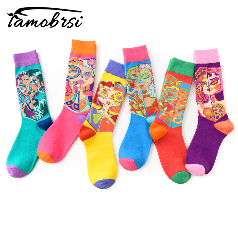 Oil Painting Creative Personality Street Art Socks Skateboard Funny Women Casual Socks Men Short Socks Crazy Happy Cotton Socks
