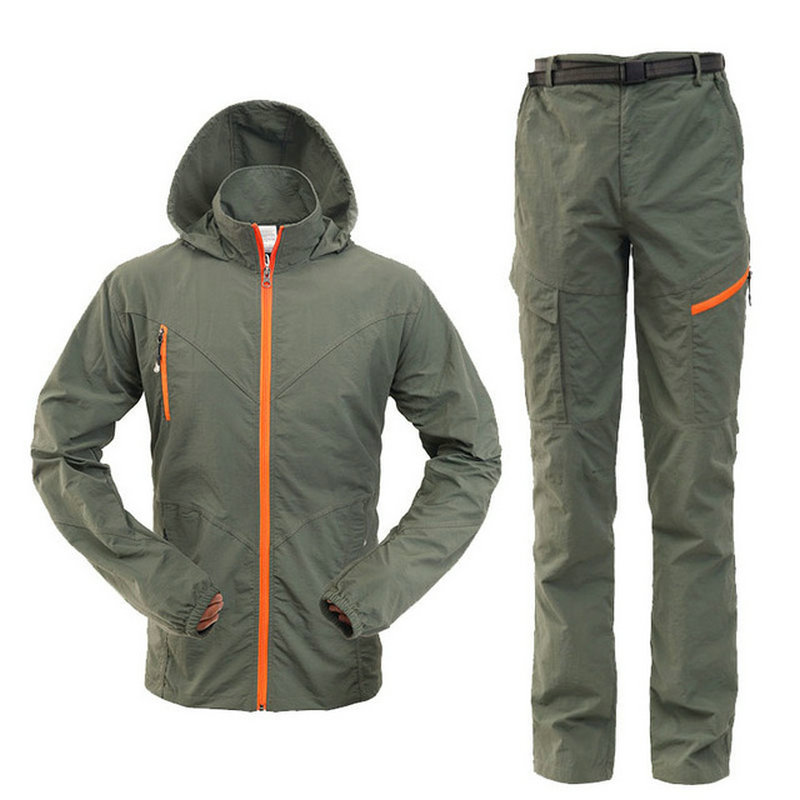 Camping Hiking Clothing Outdoor Sport Men Summer Sun UV Protection Hooded Jacket Set Quick Dry Breathable Women Sportswear Suit