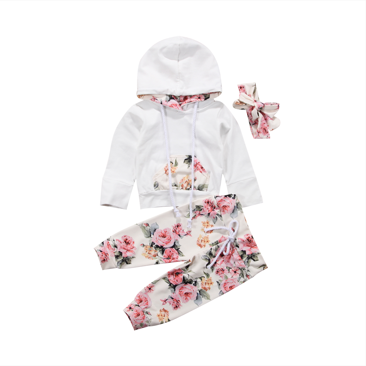 Newborn Baby Girl Clothes Sets Long Sleeve Hooded Tops Shirt Floral Long Pants Headband Outfits Clothes Set 0-24Months