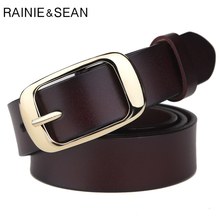 RAINIE SEAN Retro Belts Women Genuine Leather Pin Buckle Belt Female Coffee Vintage Designer Brand Real Cowhide