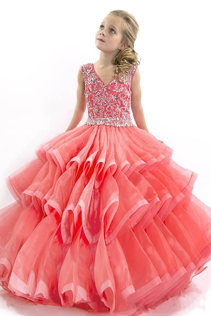 2016 vestido nuevo banquete de boda para las niñas melocotón rosa ...