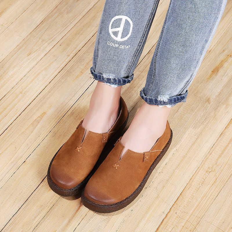 Zapatos planos de VALLU mujer 2018 nuevo diseño de cuero Natural señora pisos mocasines hechos a mano punta redonda Casual zapatos femeninos