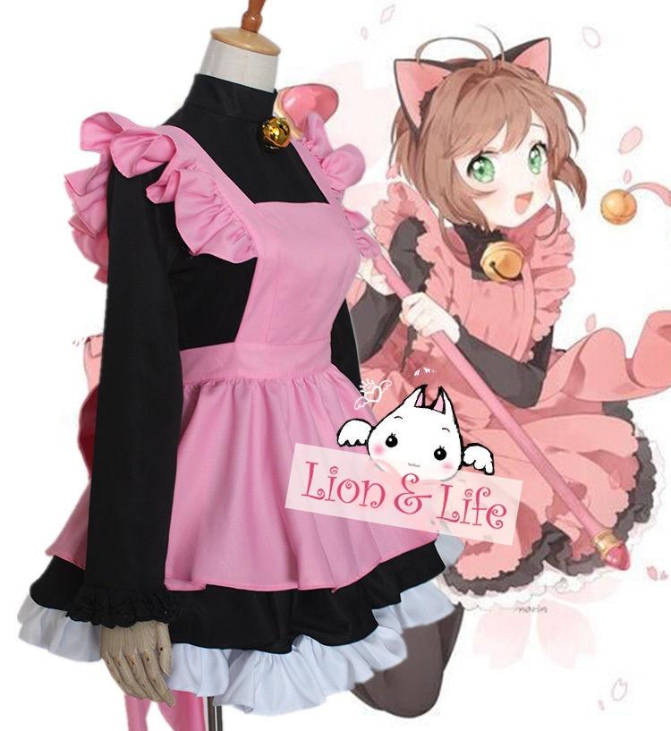 CARD CAPTOR SAKURA Black Cat Maid Servant Dress Outfit CardCaptor Cosplay Costume