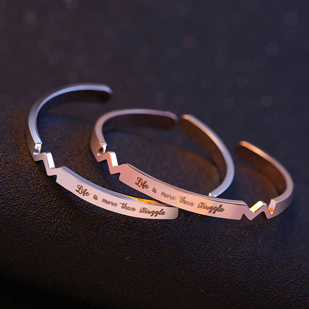 2018 Gold Color Engraved Positive Inspirational Quote Hand Stamped Cuff Mantra Open Bracelet Bangles For Women Gifts H5308