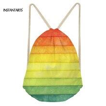 INSTANTARTS 2019 Fashion Rainbow Printing Drawstring Bag Boy Girl Light Weight Backpack Fashion Mini Ladies Shoulder Bag Travel