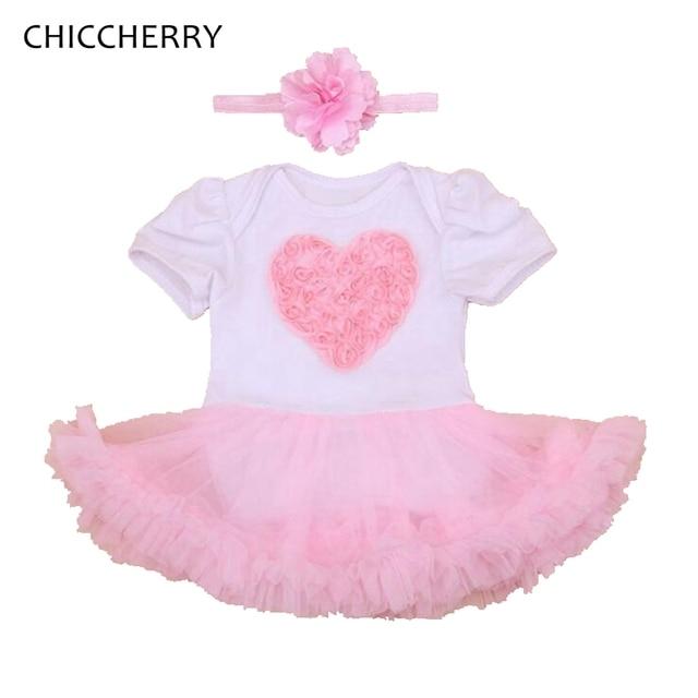 Love Lace Romper Dress Valentine Newborn Baby Girl Clothes Cotton Infant Lace Tutus Wedding Dresses Vestido Bebe Children Outfit