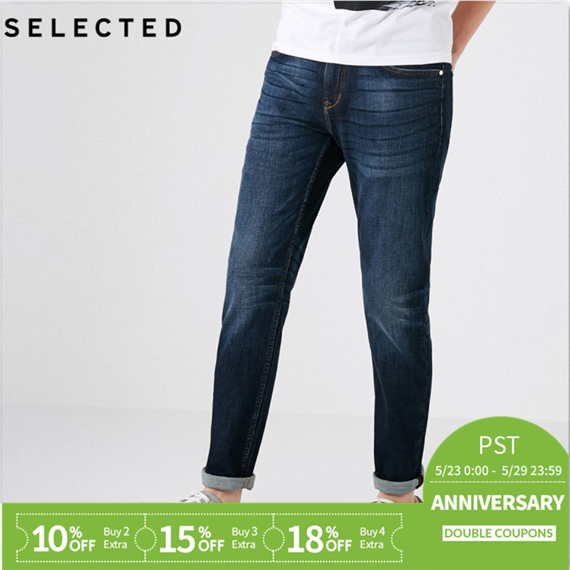 SELECTED Men's Autumn & Winter Lycra Stretch Fading Slim Fit   Jeans   D|418332531