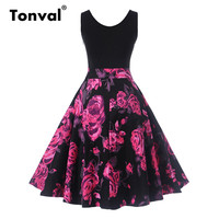 Tonval Women 2017 Black Patchwork Floral Dress Vintage Print Summer Casual Swing Dress Sleeveless Cotton Vestido