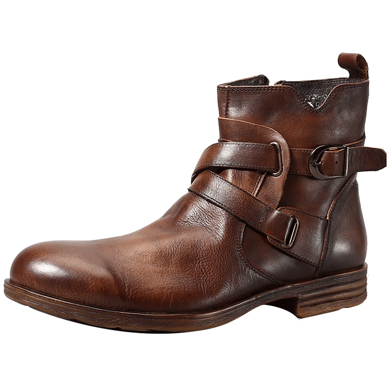 Fashion Vintage Style Genuine leather Mens Boots Back Zipper Buckle Short Boots Hot